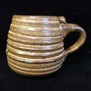 VINTAGE 1976 AMERICAN HAND CRAFTED STONEWARE POTTERY CUP MUG EARTH TONES
