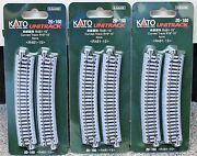 Lot Of 3 - N Scale Kato Unitrack 20-160 Curved Track R481-15 4 Pieces Per Pack
