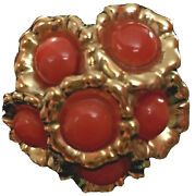Vintage 18k Yellow Gold Large Salmon Coral Button Earrings Italy Designers Rare