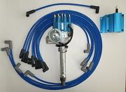 Small Block Chevy Blue Small Hei Distributor,coil,spark Plug Wires Under Exhaust