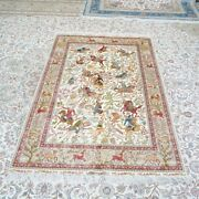 Yilong 4and039x6and039 Handknotted Silk Carpet Hunting Animal Scenery Pictorial Rug Z476a