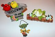 New Andndash Lot Of 3 Resin Welcome Lawn Ornaments Frog Birds Firefly