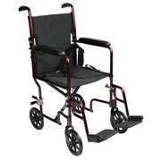 Transport Chair Black Lightweight Easy Clean Strap Handles Easy Folding/ Lifting