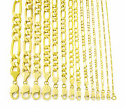 Solid 14k Yellow Gold 1mm-12mm Italy Figaro Chain Link Pendant Necklace 16- 30