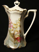 R.s. Prussia Chocolate Pot And Cover Foxglove Floral 9 3/4 In. H