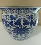"Large 14"" Porcelain Pot Planter Blue White Chinese Bombay Co - LOCAL SALE"