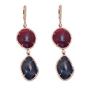 Sliced Cut 39 Ct Blue Sapphire And Ruby 1.24 Ct Diamonds 14k Gold Earrings Andraquonp19