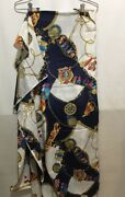 Hi Fashion Fabrics Inc Nautical Gold Rope Flag Coat Of Arms Silky Blue Red Whit