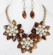 Pearl Brown Floral Necklace Set Gold Curb Chain Statement Women Fashion Jewelry