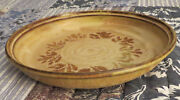"Studio Art Pottery Handmade Large Low Earthanware Bowl 11.25"" Gold with Brown"