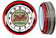 Pepsi Cola Ice Cold Sold Here 19 Double Neon Clock Red Neon Man Cave Bar Garage