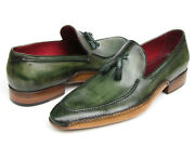 Paul Parkman Menand039s Side Handsewn Tassel Loafer Green Shoes Id082-green