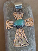 Native American Jewelry Copper Turquoise Pendant By Jackie Cleveland