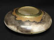 George And Wanda Holland Raku Pottery Vase W/ Gold Leaf Accent And Brass Wire Trim