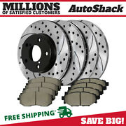 Front And Rear Performance Drilled Slotted Brake Rotors And Ceramic Pads Kit