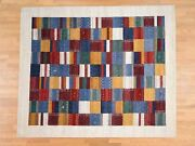 8and0392and039and039x11and0396and039and039 Persian Wool Hand Made Lori Buft Gabbeh Patchwork Design Rug G38127