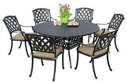 Outdoor Garden Solid Cast Aluminum 7pc Round Dining Set Seat Cushions