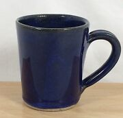 Pigeon River Pottery Mug Cup Handcrafted Blue Black Glaze Signed E. Ownby