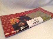 Retired Dept 56 Time To Celebrate Floral Red Fall Table Runner New