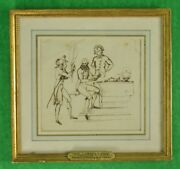 William Locke 1767-1847 Brown Ink On Paper Of General D'arblay And Friends