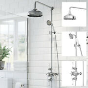 Traditional Chrome Thermostatic Mixer Shower Crosshead Valve With Round Drench
