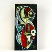 Mid century atomic age 1960s Schaffenacker Tile of Fish  Clearly stamped on the