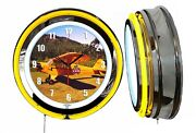 Piper Cub 19 Double Neon Clock Yellow Neon Chrome Finish Airplane Aircraft