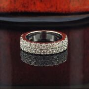 1.15 Ct Two Row Diamond Wedding Band In 14k White Gold New