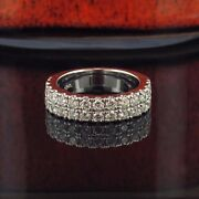1.15 Ct Two Row Diamond Wedding Band In 18k White Gold New