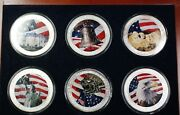 2003-2004 American Silver Eagle Symbols Of Liberty 6 Coin 1ozt Bu Colorized Set