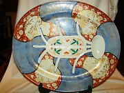Rare Signed Hichozan Shimpo Arita Porcelain Huge Tree And Well Platter 19th C 22