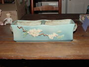 """Beautiful Roseville Pottery 12"""" Blue Apple Blossom Divided Window Box #369"""