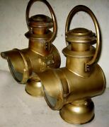 Pair Large Neverout Brass Bale Handle Side Lamps Model T Ford Oldsmobile Reo