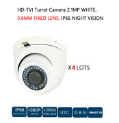 4 Lots Hd-tvi Turret Camera 2.1mp, 3.6mm Fixed Lens, Cctv Security In / Out Door