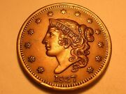 1837 Large Cent Au+ Beaded Cord Small Letters And Attractive