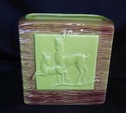 Art Deco Leaping Deer Vase Planter California Pottery Chartreuse