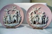 Vintage Porcelain French figurine sculptural 3D Plate wall Hanging