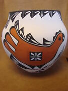 Large Native American Acoma Indian Pottery Hand Coiled And Painted Pot By David An