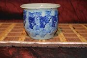 """Vintage Handmade Pottery Planter Handcrafted Clay Art Blue & Grey 6 1/2""""x5 1/8"""""""