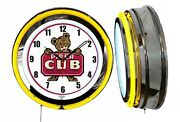 Piper Cub Lock Haven Pa Aircraft Airplane 19 Double Neon Clock Yellow Neon