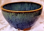 "STUDIO ART POTTERY MODERN BOWL LAVA DRIP SIGNED T R Blues & Browns 6"" across"