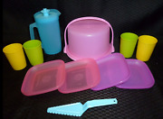 Tupperware Mini Party Set In Rare Pink Purple Blue Cake Taker Pitcher Cups New