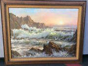 Original Seascape Painting By Robert Wee Signed Listed Ca Artist 40andrdquo X 30andrdquo