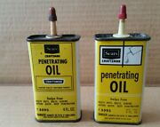 2 Sears Craftsman Penetrating Oil Vintage Handy Oiler Household Oil Tin Can
