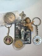 Lot Of Religious Christian Items - Keychains, Relics, Jewelry Pendant, Etc.