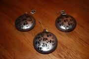 Christmas Ornaments Grey Glass Disc With Black And039orientaland039 Design. Beautiful