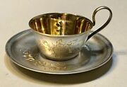 Vintage Antique 1930' Russian Soviet Silver 875 Gold Wash Cup W/plate Old 98.6gr