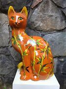 """Large 24"""" VINTAGE Italian POTTERY Cat Sculpture FRATELLI FANCIULACCI Italy 1960s"""