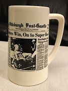 1975 Pittsburgh Post Gazette Ceramic Commemorative Stein Steelers Championship