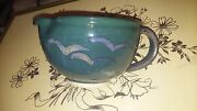 Pottery Mixing Bowl Small  Green w/Abstract Birds Peace Roots Studio